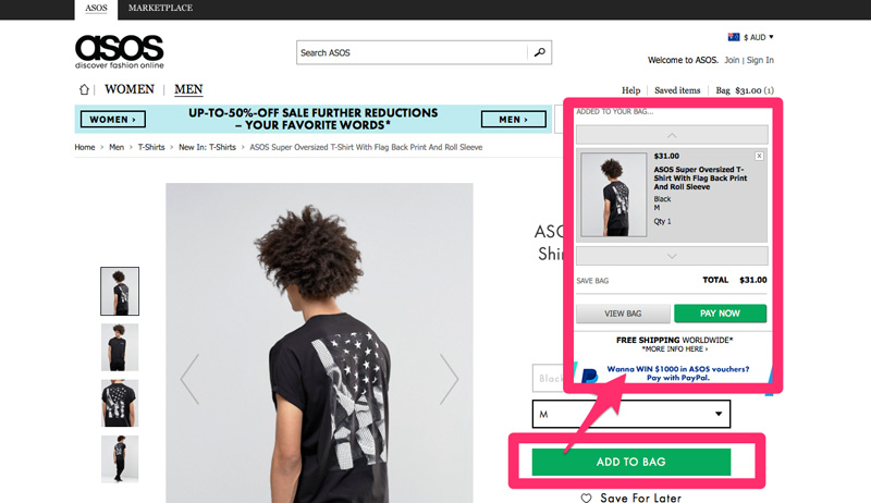 ASOS add to cart button showing cart pop up.