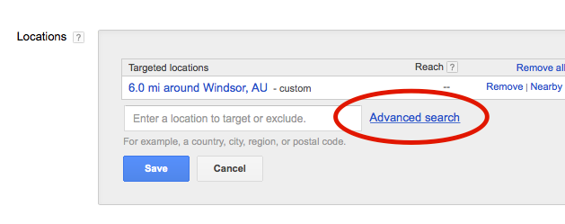 locations options advanced search