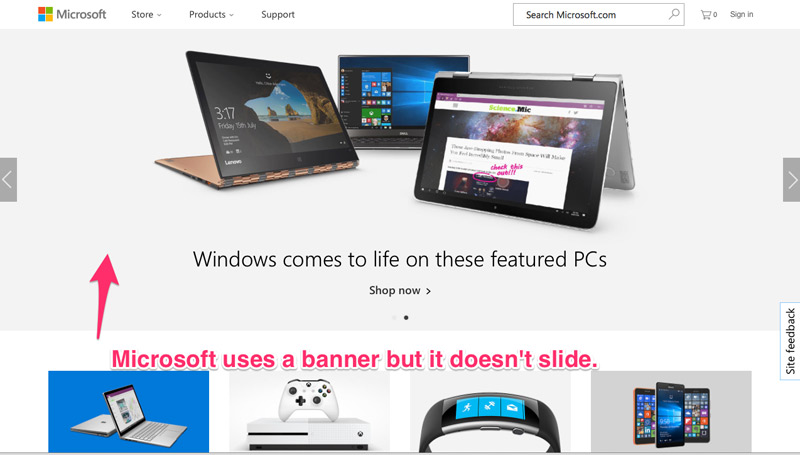 Microsoft homepage banner